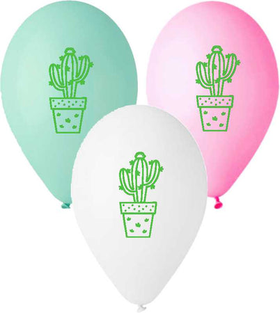 13'' Printed Cactus in 3 Colors Latex Balloon (25 pcs)