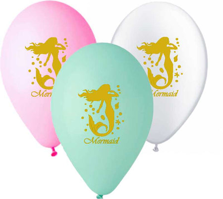12'' Printed gold Mermaid Latex Balloon (25 pcs)