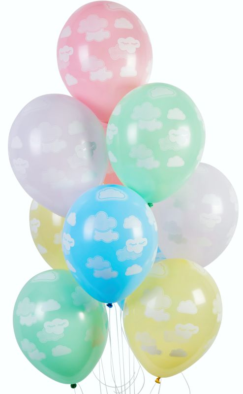 13'' Printed Clouds in pastel colors Latex Balloon (25 pcs)