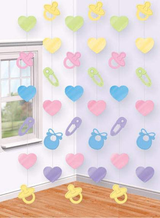 Hanging Roof Decoration 'Safety pins - Hearts - Pacifier'