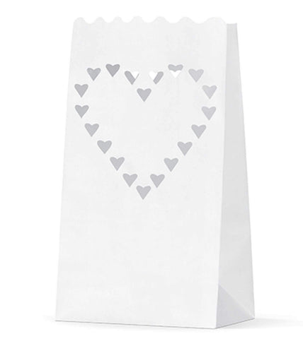 Paper Candle bag with with a heart motif (10 pcs)