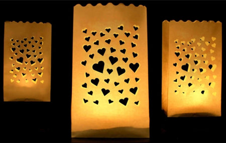 Paper Candle bag with with hearts motif (10 pcs)