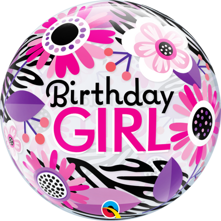 "22"" Birthday Girl floral single bubble balloon"