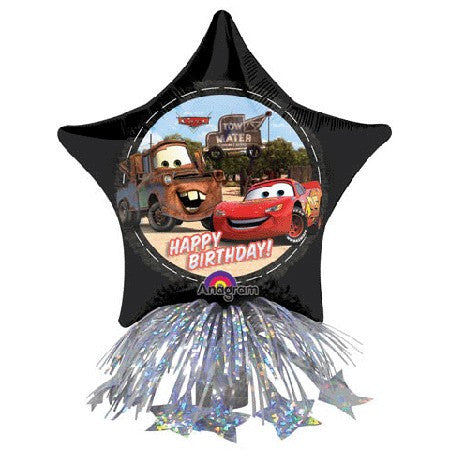 14'' Disney Cars Star Happy bday  Center Piece Foil Balloon and weight with ribbons