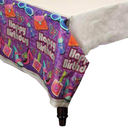 Plastic Table Cover ''Happy Birthday'' Glamour Girl