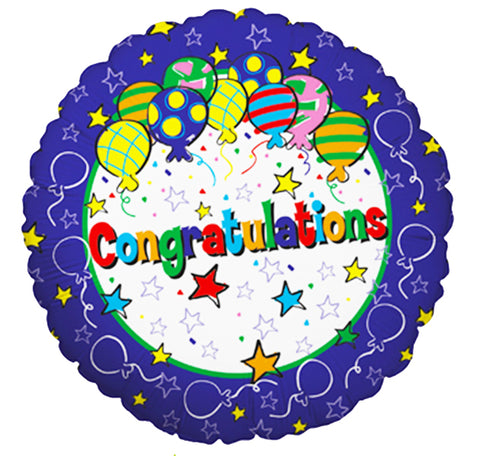 18'' Congratulations stars and balloons Foil Balloon