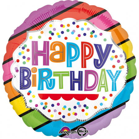 18'' Bright Stripes 'Happy Birthday' Foil Balloon