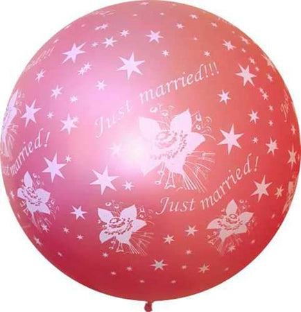 3 Feet ''Just Married'' Pearl Coral Latex Balloon