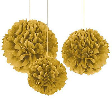 Decorating fluffy hanging balls in gold (3 pcs)