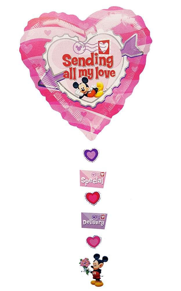 34'' Mickey Mouse Heart 'Sending all my love' Foil Balloon with Ribbon