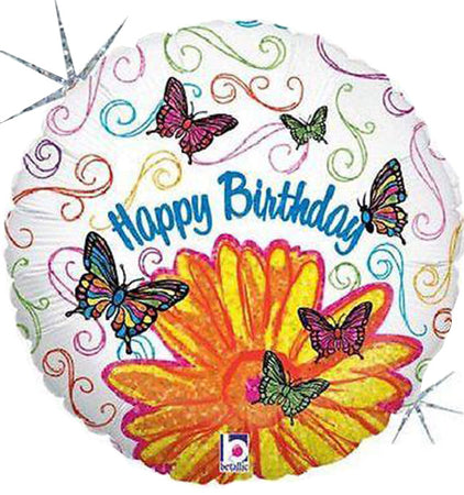 36'' Colorful Butterflies 'Happy Birthday' Foil Balloon