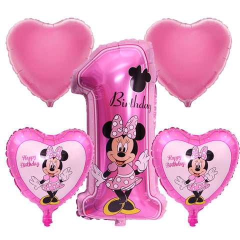 Set ''1st Birthday'' Minnie Mouse Foil Balloon (5 pcs)