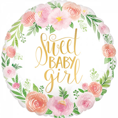18'' Floral Sweet Baby Girl Foil Balloon