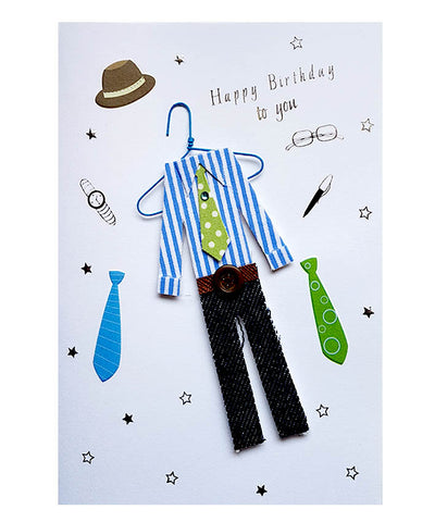 Wishing Card for Birthday 3D Man's Clothes with envelope