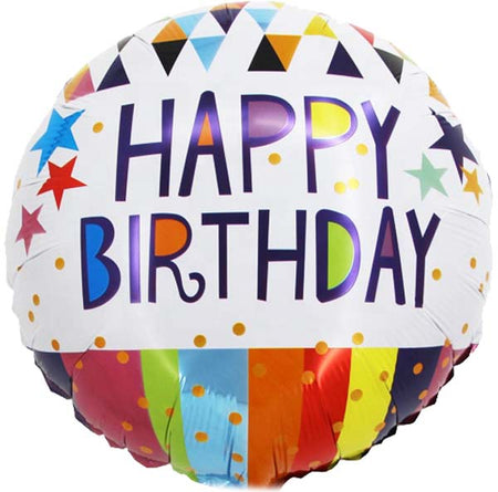 "18'' ""Happy Birthday"" stripes & stars Foil Balloon"