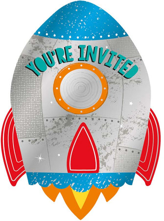 Party invitation Blast- off with envelope & stickers (8 pcs)