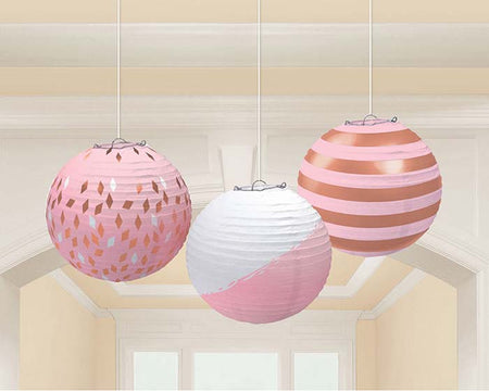 Rosegold decoration Paper lanterns (3 pcs)