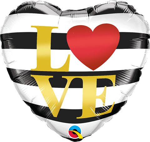 "18'' ""Love"" Horizonal stripes Foil Balloon"