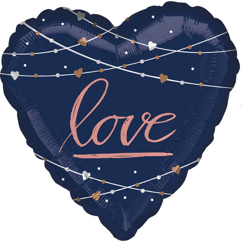 28'' Heart Navy Love Foil Balloon