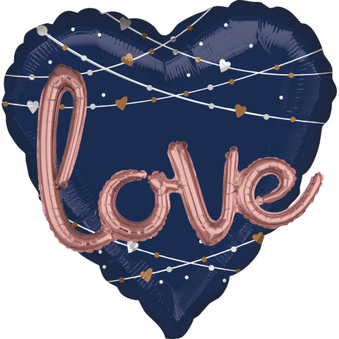 27'' Heart Navy Love 3D Foil Balloon