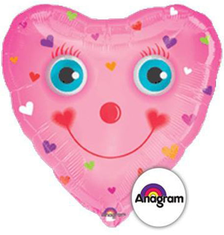 "32"" Pink Heart Smile Face Foil Balloon"