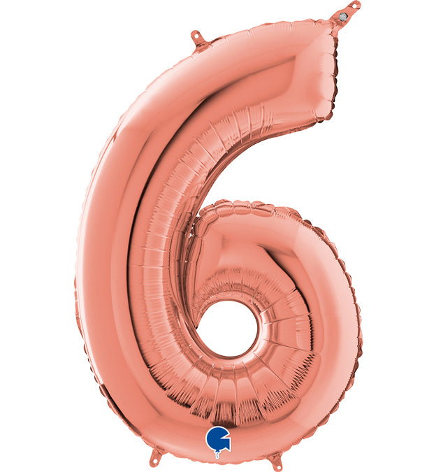 26'' Rosegold Number '6' Foil Balloon