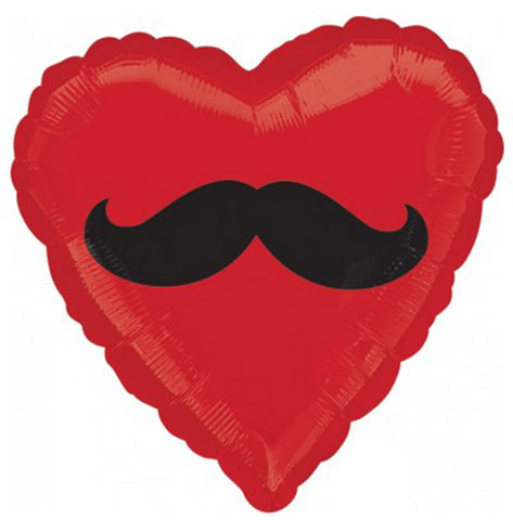 18'' Red Heart With Black Mustache Foil Balloon