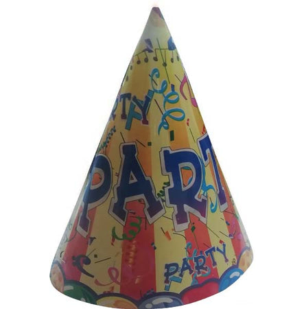 Party Hats yellow- blue (6 pcs)