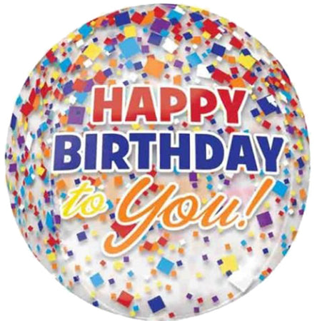 16'' Happy Birthday to you Confetti ORBZ Foil Balloon