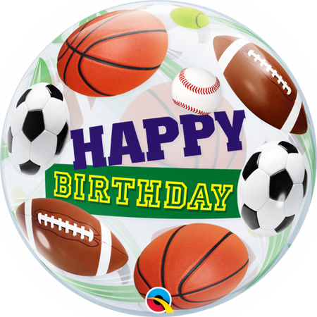 "22"" Happy Birthday Soccer Ball single bubble balloon"