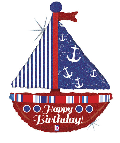 Super Shape Nautical Birthday Sailboat Foil Balloon