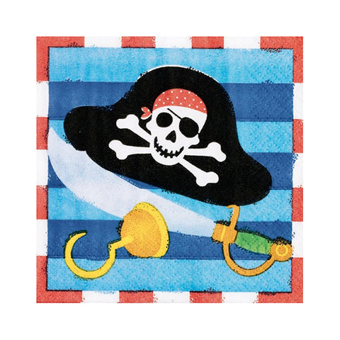 Small Napkins with Pirates  (16 pcs)