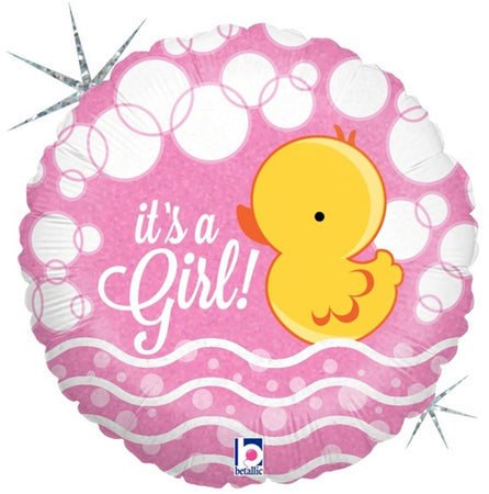 18'' Its a Girl little duck holographic Foil Balloon