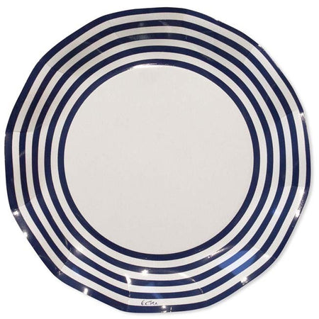 White with Blue Strips Plates (10 pcs)