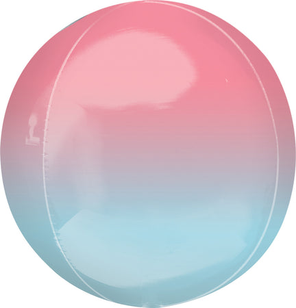 15'' Ombre red & blue Orbz Foil Balloon