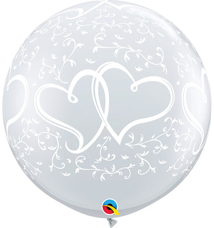 3 Feet Printed Entwined hearts latex Balloon