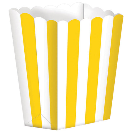 Yellow Treat Boxes Stripes for gifts (5 pcs)