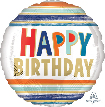 17'' Happy Birthday Letters & Stripes Foil Μπαλόνι