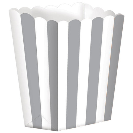 Silver Treat Boxes Stripes for gifts (5 pcs)