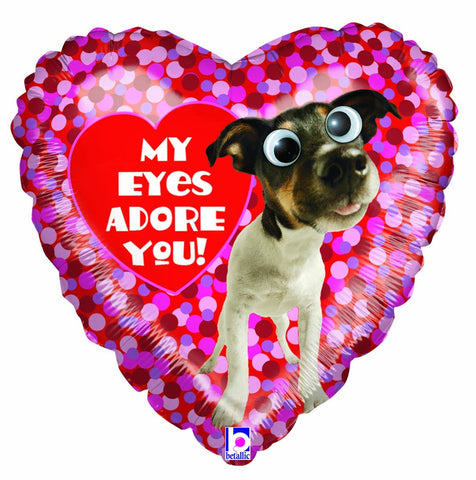 18'' Heart Puppy 'My eyes adore you' Foil Balloon