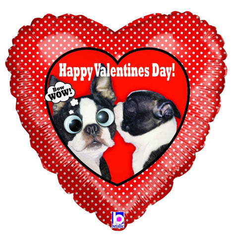 Heart polca dot with puppies 'Happy Valentines day' Foil Balloon