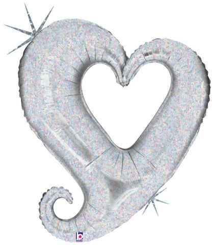 37'' Silver Heart linky Foil Balloon