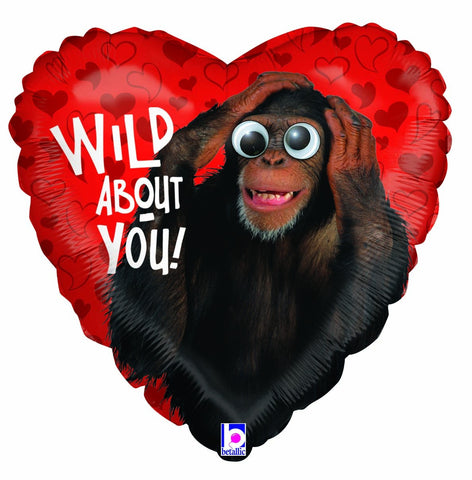 18'' Red Heart monkey 'Wild About you' Foil Balloon