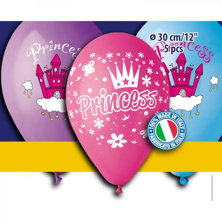 12'' Printed Princess in 3 colors Latex Balloon (5 pcs)