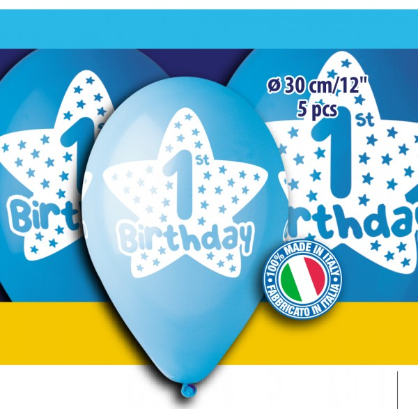 12'' Printed '1st Birthday' for boy blue Latex Balloon (5 pcs)