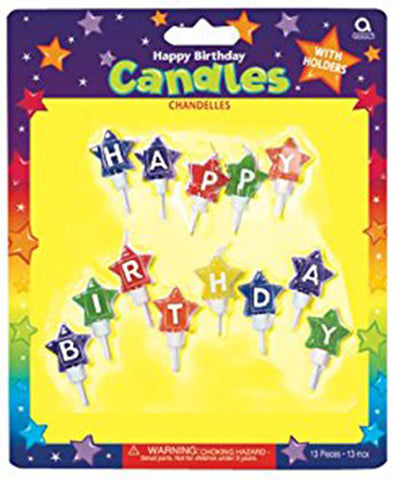 Star Shaped 'Happy Birthday' Candles