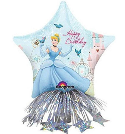 14'' Cinderella Disney Center Piece Foil Balloon and weight with ribbons