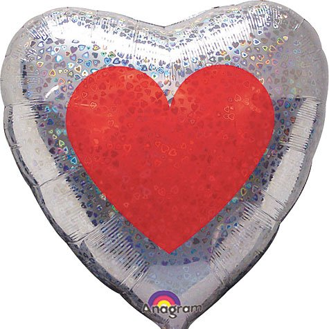 32'' Silver Heart with red center heart holographic Foil Balloon