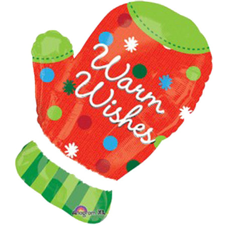 Supershape Christmas Glove 'Warm Wishes' foil balloon