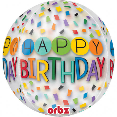 16'' Happy Birthday Rainbow confetti ORBZ Foil Balloon